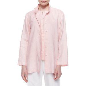 Go Silk Linen Button Front Jacket